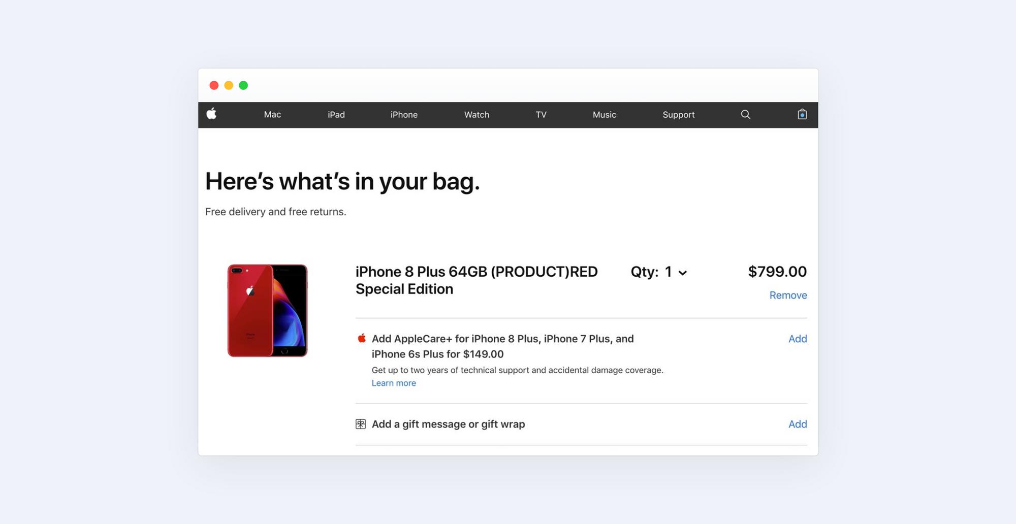 Apple checkout page