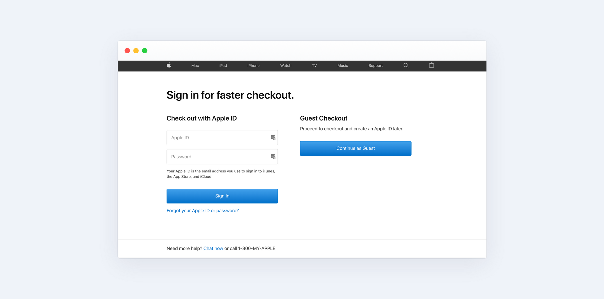 Apple Store checkout page