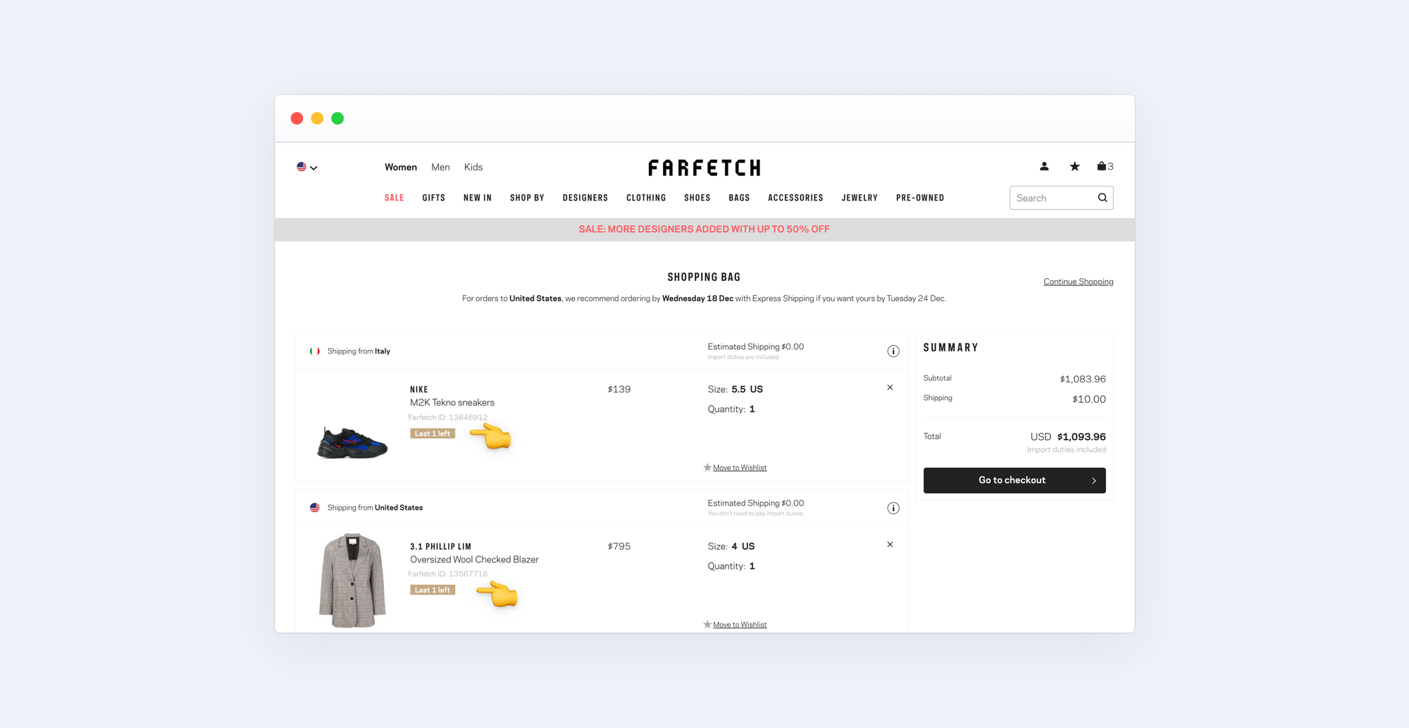 Stock availability popup in the shopping cart