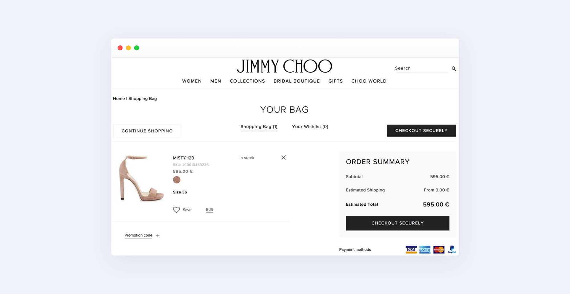 Jimmy Choo store checkout