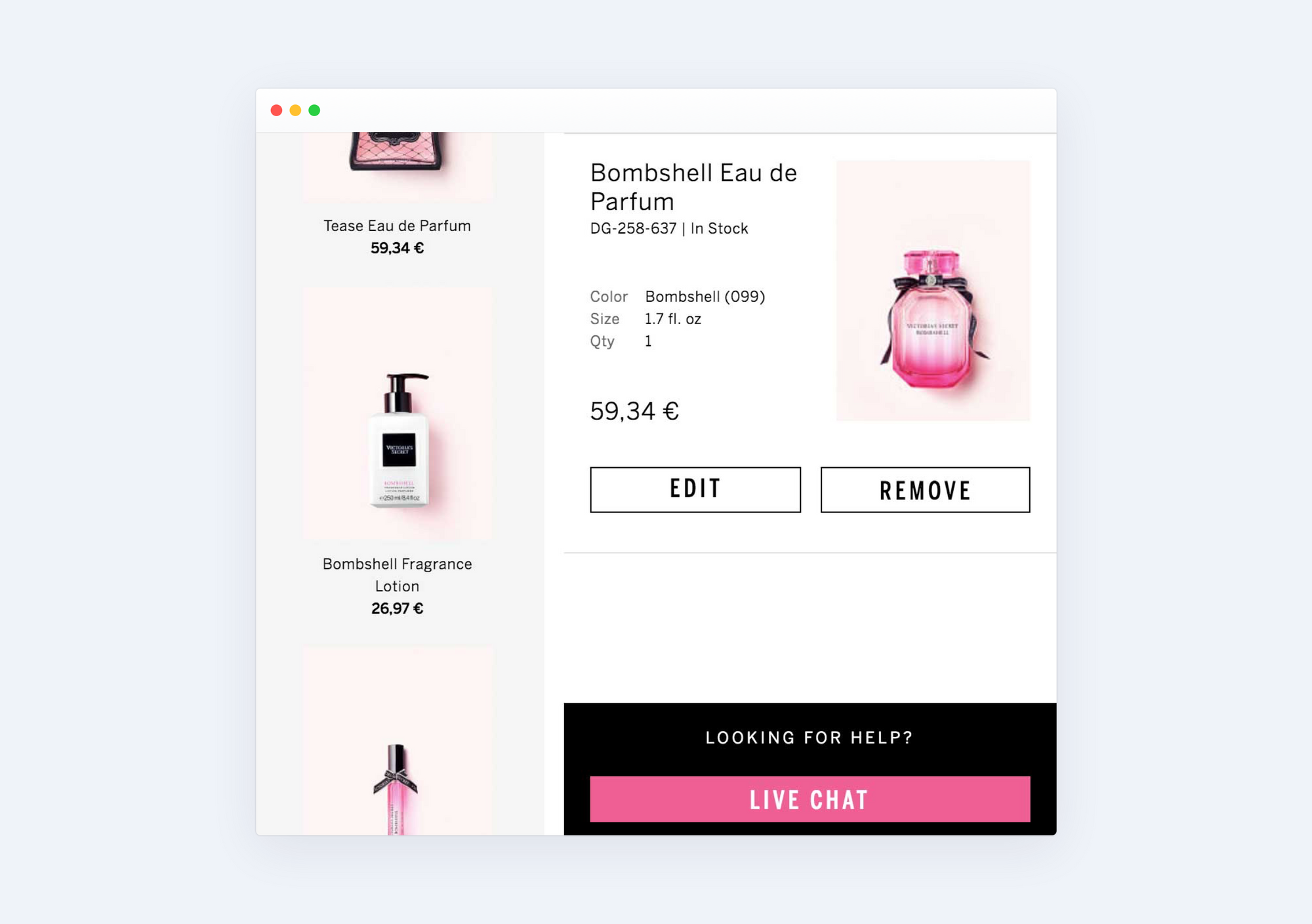 Victoria's Secret checkout page