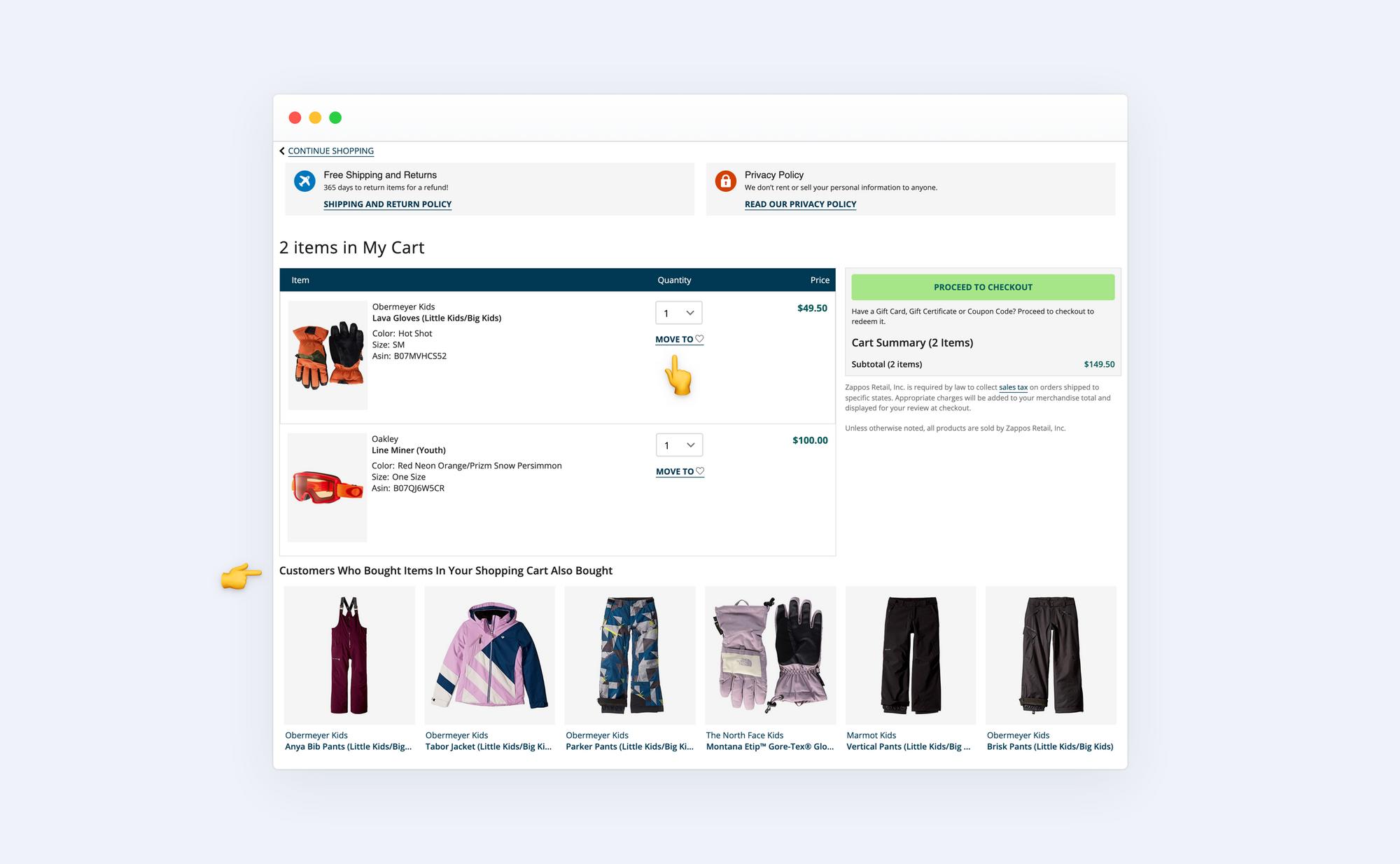 Zappos store checkout