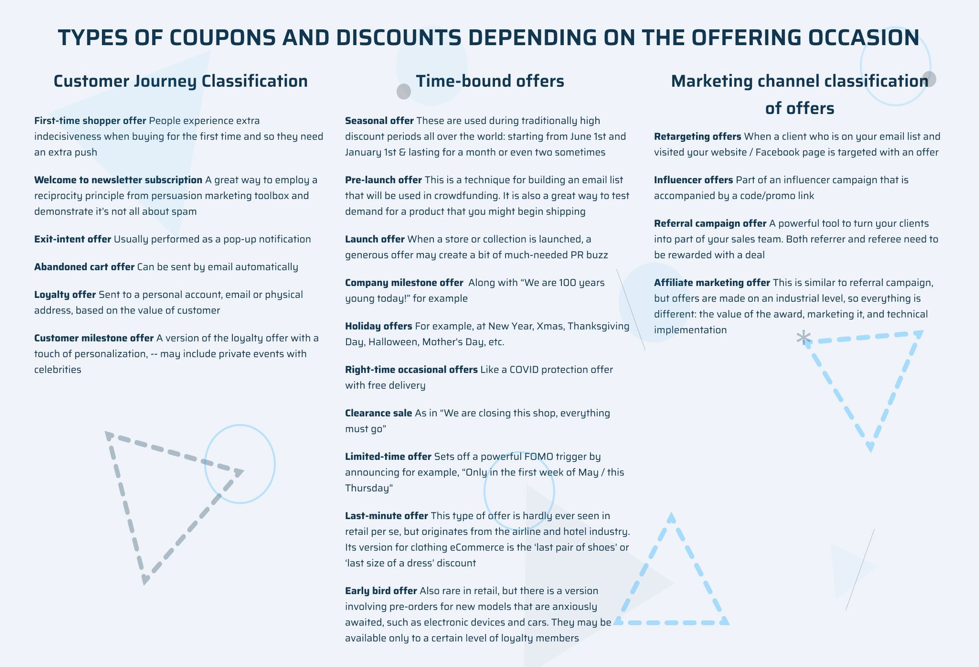 types of coupons and discounts depending on the offering occasion