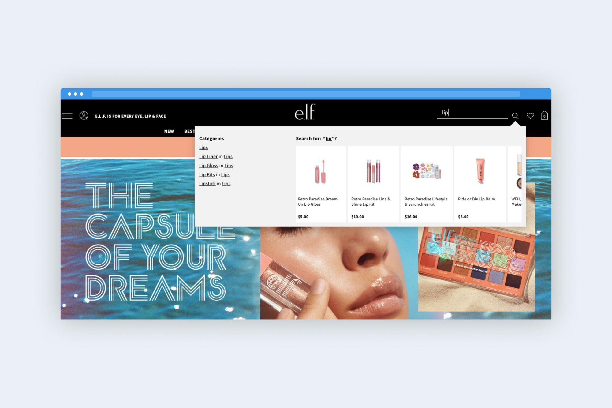 E.L.F. web-site searching