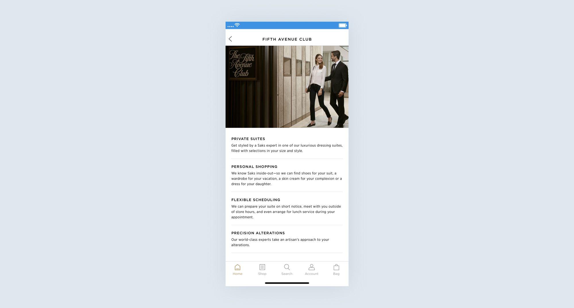 Saks Fifth Avenue Club mobile app