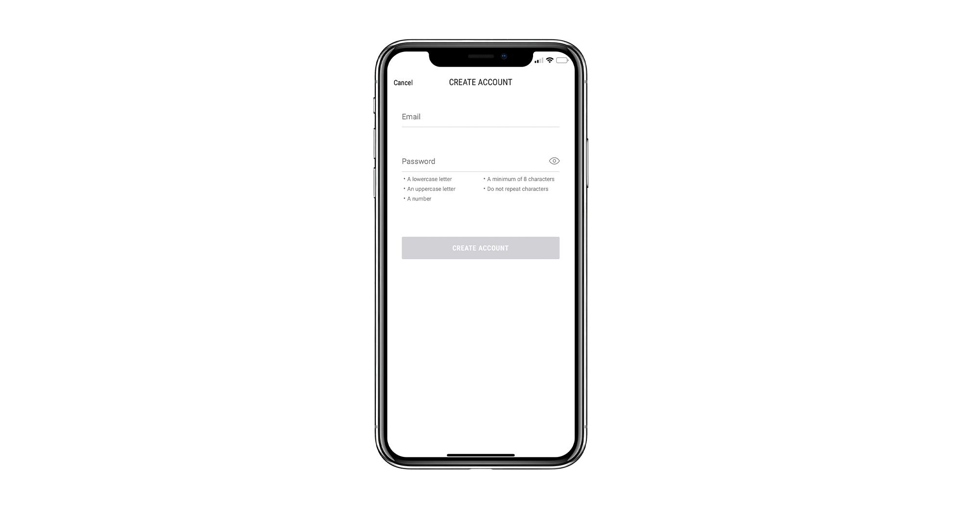 Registration form mobile app