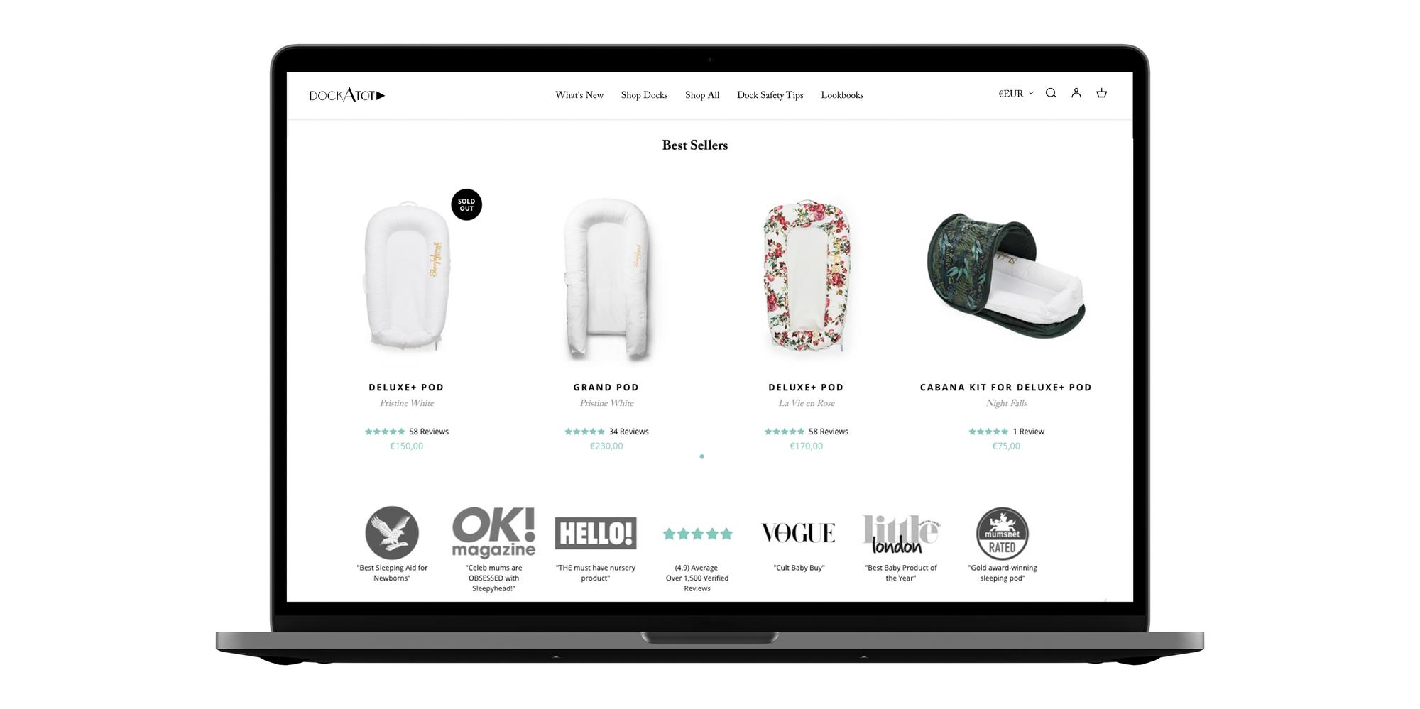 DockATot® baby dock product design for eCommerce brand