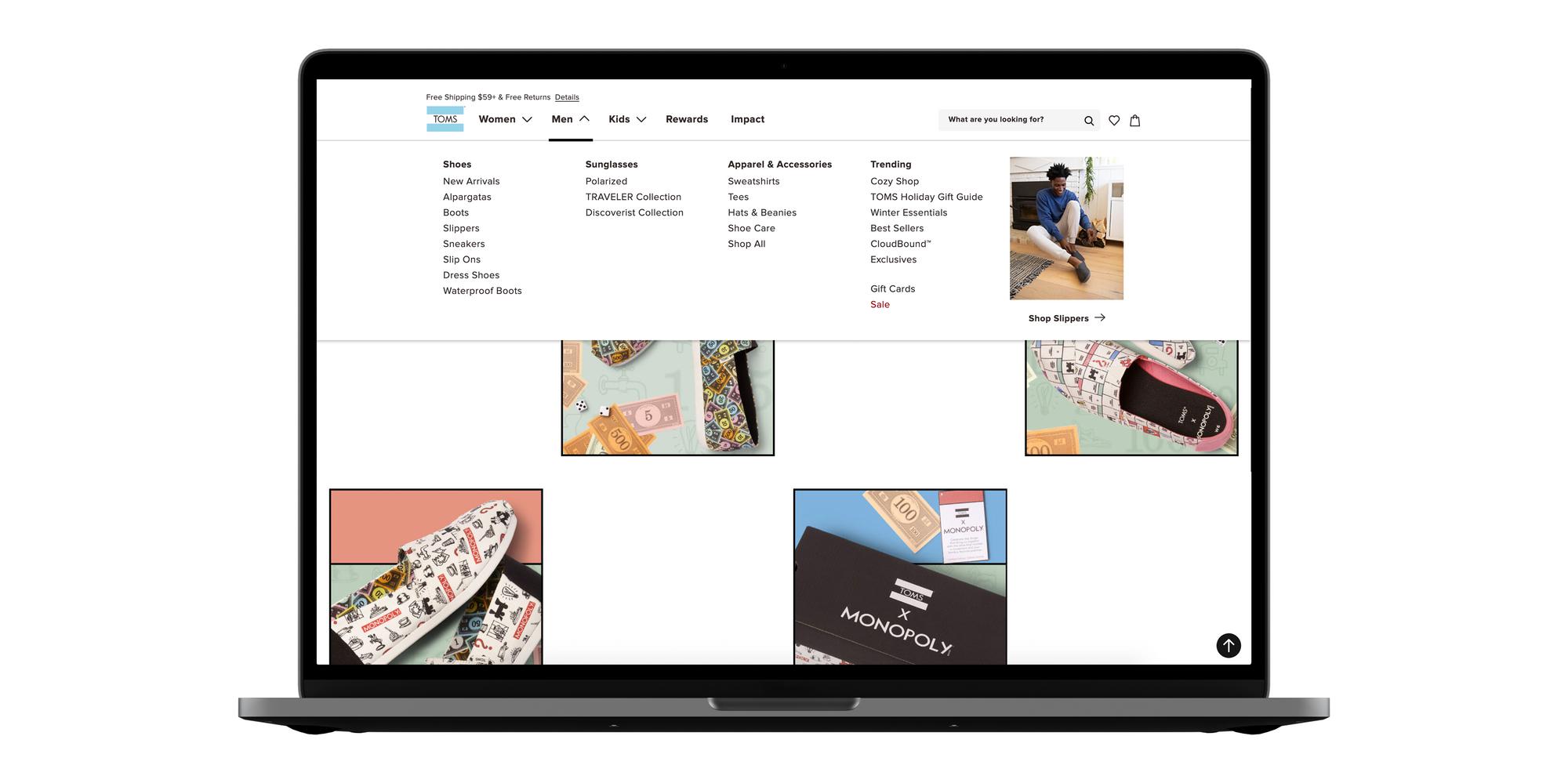 menu design on web site for eCommerce brand